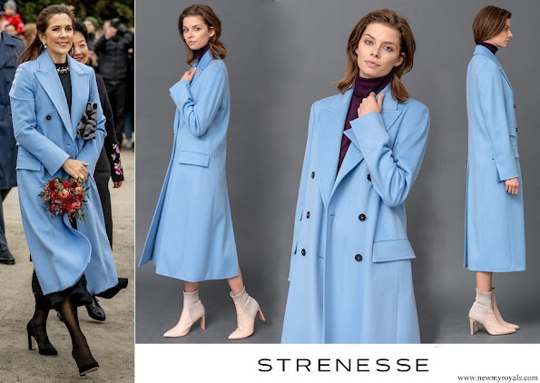 Crown Princess Mary wore STRENESSE Long cut coat in Loro Piana virgin wool