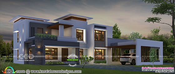 5 BHK flat roof house 3600 square feet