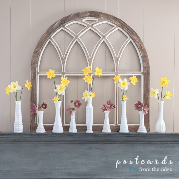 wooden arch window frame with yellow daffodils and pink Lenten roses in vintage white milk glass vases