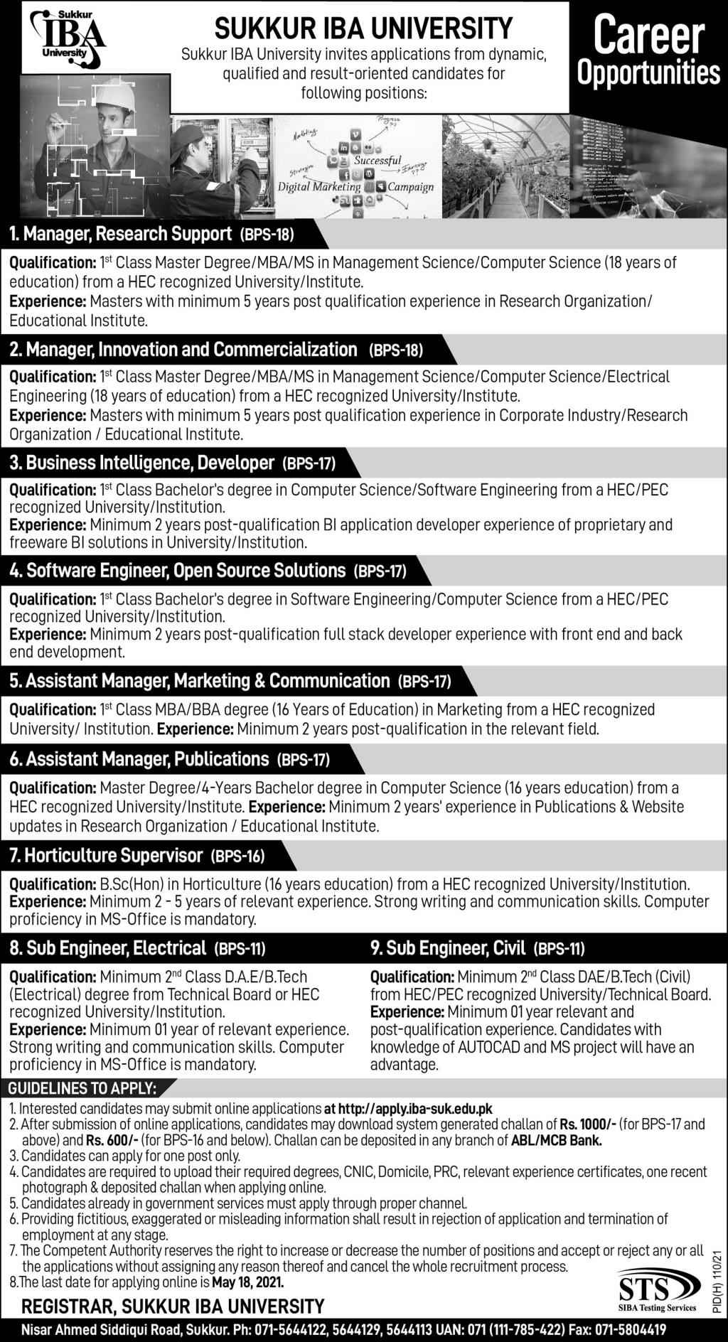 Sukkur IBA University Jobs 2021 For Manager Research Support, Innovation Manager, Business Developer & more