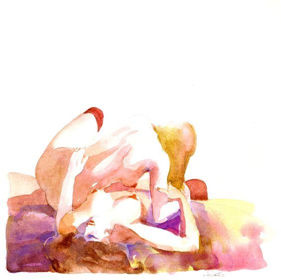 Acuarela de dos mujeres sensuales desnudas en la cama