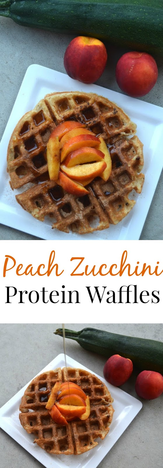 These Peach Zucchini Protein Waffles are easy to make and are packed full of produce for a healthy and satisfying breakfast! www.nutritionistreviews.com