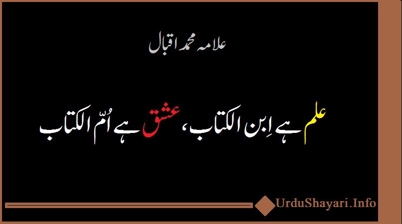 iqbal shayari - 2 lines علم کیا ہے عشق کیا ہے