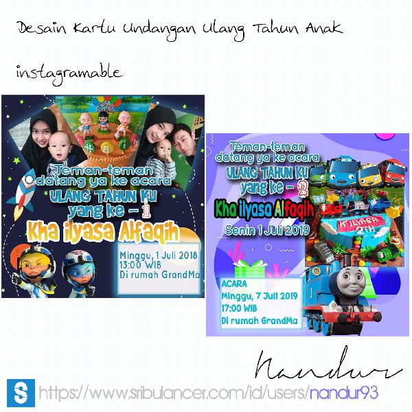 Desain Kartu Undangan Ulang Tahun Anak Instagramable Nandur93