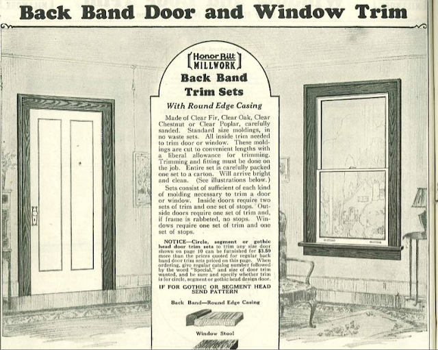 From the 1930 Sears Honor Bilt Building Materials catalog page showing craftsmand Back Band trim