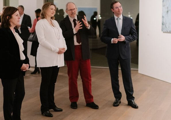 pregnant Princess Stephanie attended the opening of the exhibition D'apres nature of the artist Jean-Marie Biwer