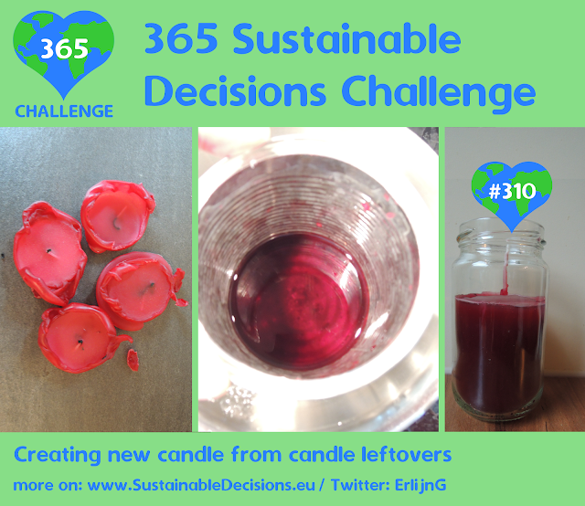Creating new candle from candle leftovers, reducing waste, sustainability, sustainable living, climate action