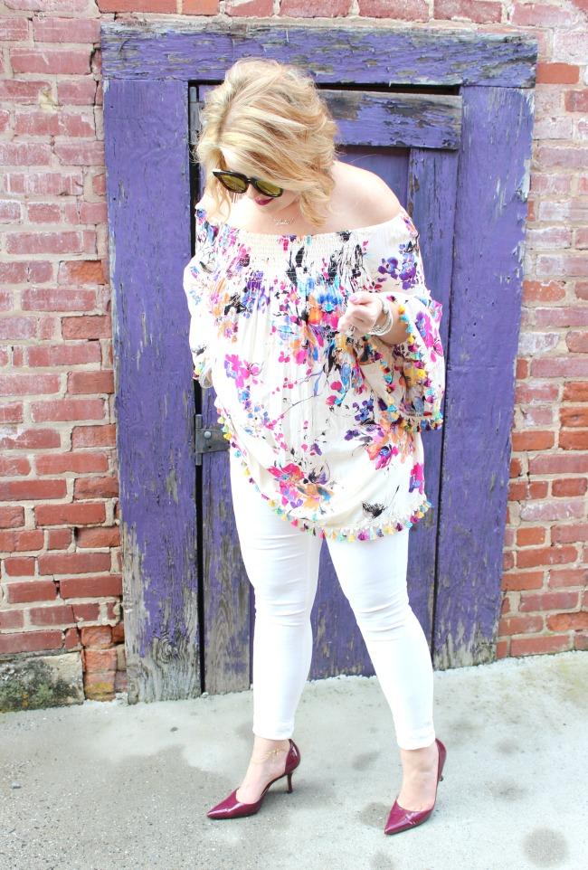 Floral Tassel Top // White Karen Kane Jeans // Mirrored Sunglasses