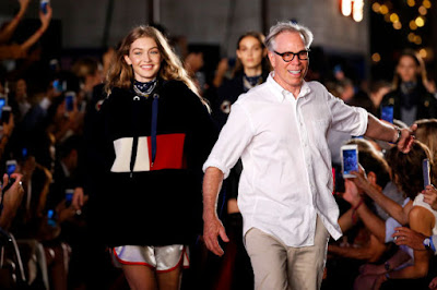 Gigi Hadid and Tommy Hilfiger at the brand's New York Fashion Week runway show on Sept. 9, 2016. Photo: Estrop/Getty Images