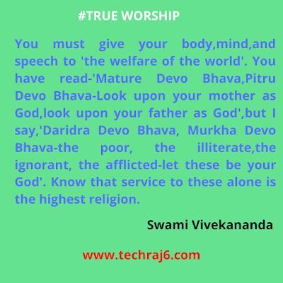 True Worship Quotes By Swami Vivekananda