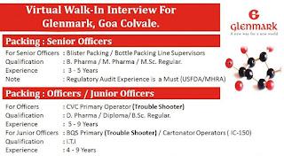 Glenmark Pharma Company Recruitment For Diploma/ ITI/BSc/MSc/D. Pharma / B. Pharma/M. Pharma Experienced Candidates | Online Walk In Interview