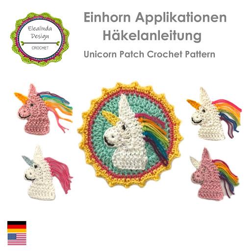 Häkelanleitung Einhorn Applikation