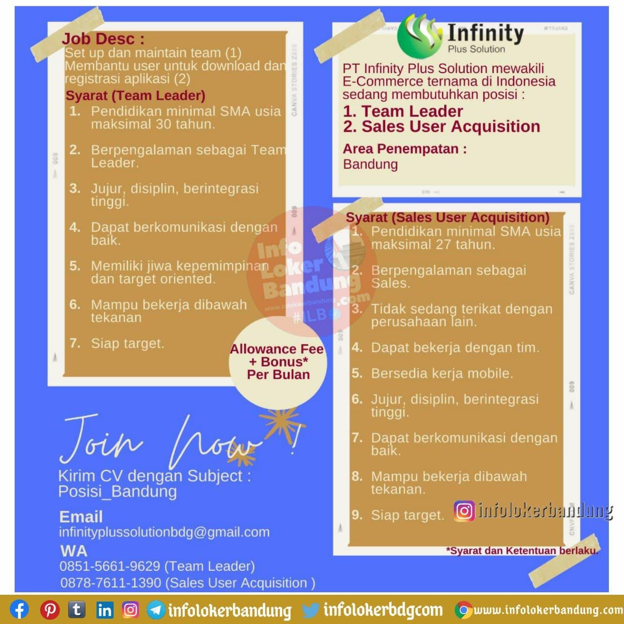 Lowongan Kerja PT. Infinity Plus Solution Bandung Desember 2020