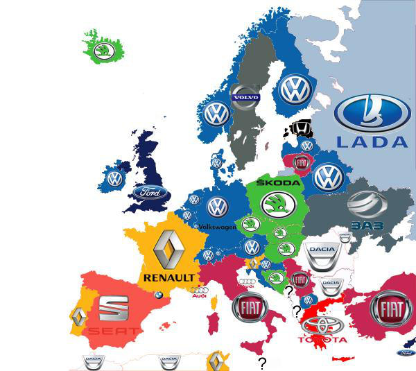 Top Selling Car Brands in Each European country