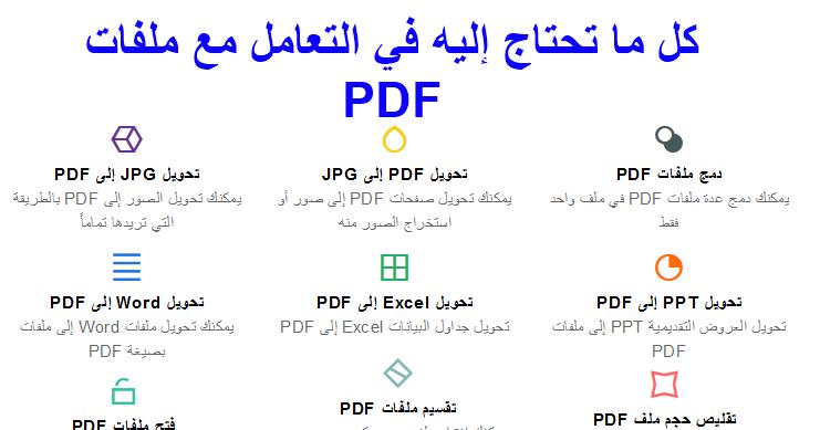 موقع سيغنيك عن العديد من برامج PDF (تحويل دمج تقسيم تصغير الحجم...)