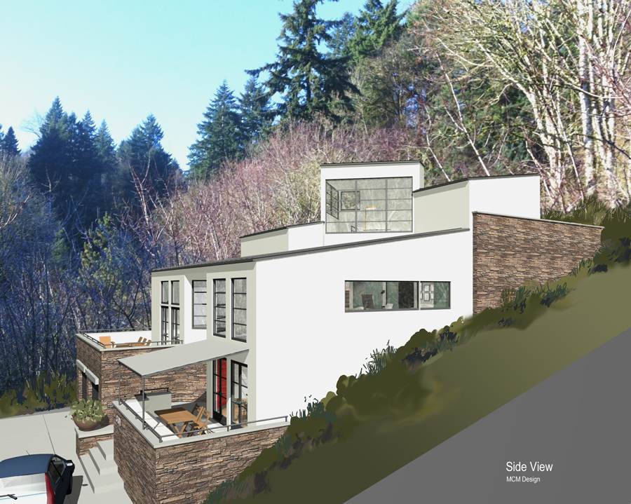 Contemporary hillside house plans for Steep hillside house plans