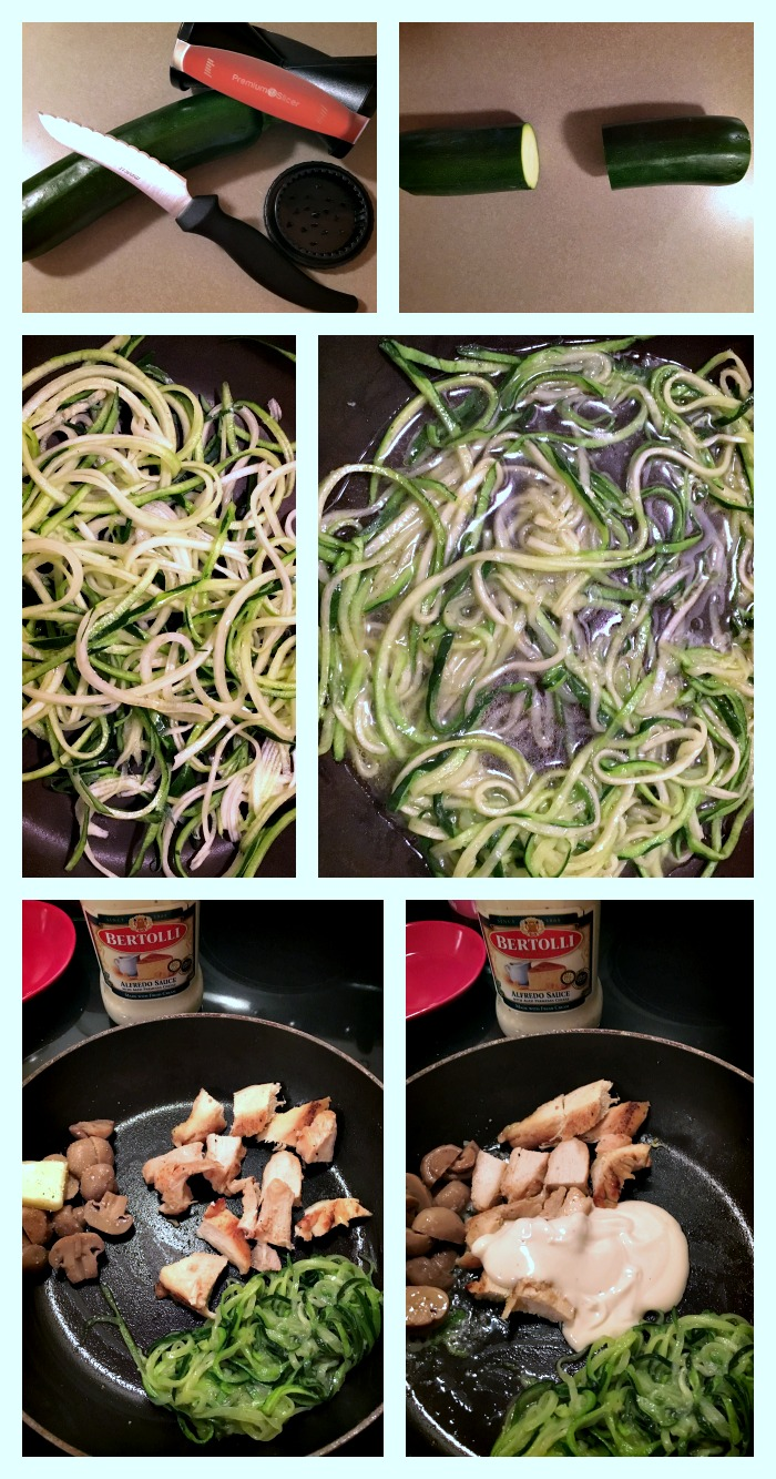 Low Carb Zucchini Chicken Alfredo, LCHF Dinners, How to Cook spiralized zucchini, How to cook zucchini noodles, Bertolli, #VivaBertolli, Low carb Bertolli Recipes, Italian-inspired healthy meals
