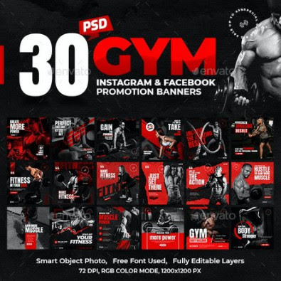 Templates – GraphicRiver – 30-Instagram & Facebook Fitness GYM Banners – 28501769 [PSD]