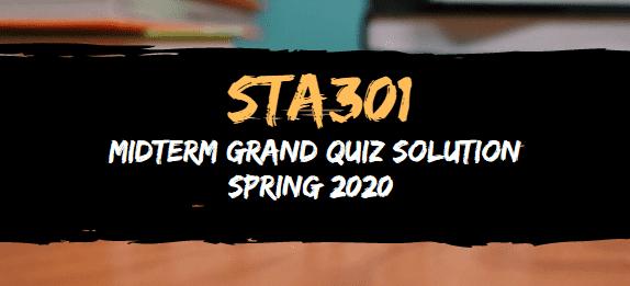 STA301 midterm grand quiz solution 2020