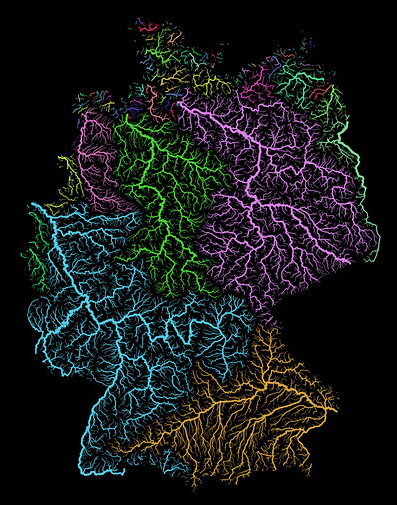 river basin map germany