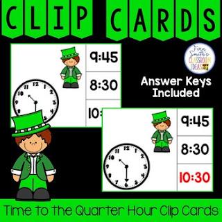 Time to the Quarter Hour Clip Cards Leprechaun Themed