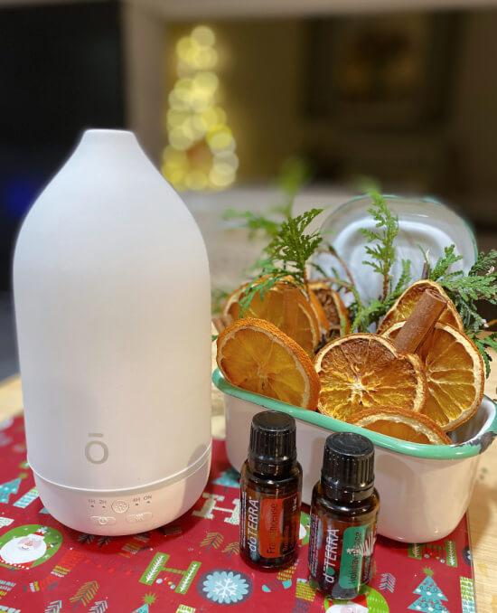 doTerra diffuser, essential oils and orange slices