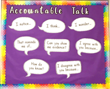 Photo of accountable talk bulletin board with speech bubbles containing conversation starters.