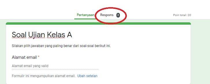 melihat hasil ujian google form