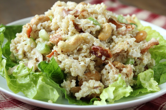 Quinoa Chicken Salad {Gluten-Free, Low-FODMAP Option}  /  Delicious as it Looks