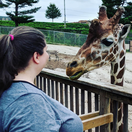 image of me at the zoo standing on a platform, looking at a giraffe, whose face is very near mine and who is looking back at me