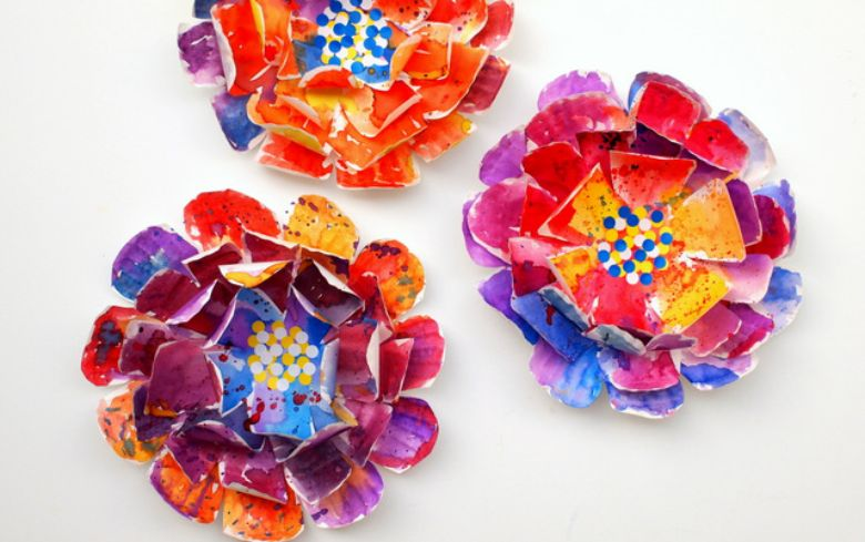 paper plate flower painting idea for kids