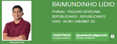 FICHA SUJA EM PAULINO NEVES: TRE-MA recebe três impugnações da candidatura de Raimundinho Lídio - demitido a bem do serviço público