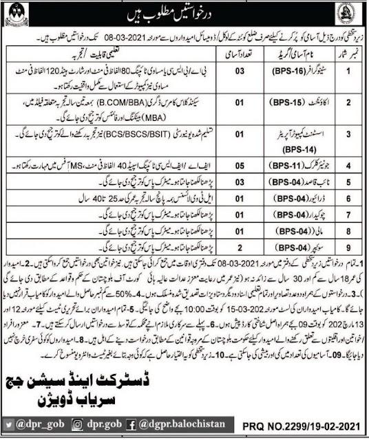 District & Session Judge Office Jobs 2021 in Quetta Balochistan