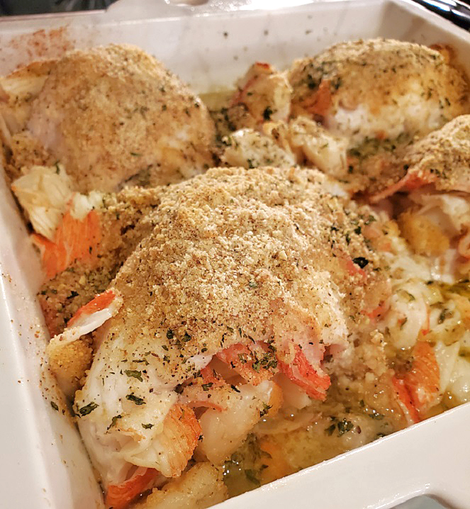 this is a stuffed flounder with butter wine sauce baked