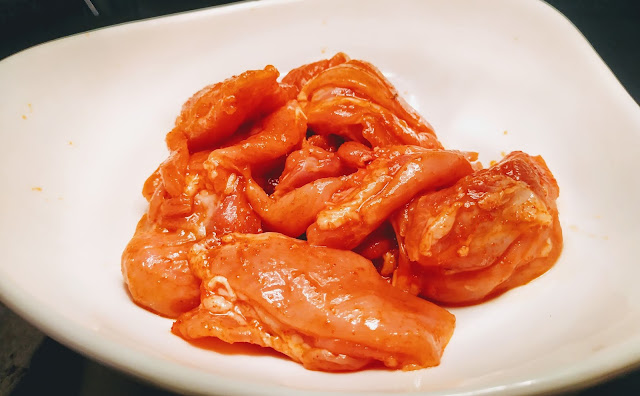 First marinated chicken pieces for chicken Tikka recipe