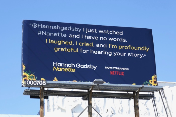 Hannah Gadsby Nanette message billboard