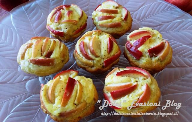 Muffins con crema e petali di mela