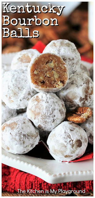 Kentucky Bourbon Balls ~ Spiked with bourbon deliciousness, Kentucky Bourbon Balls are a true Southern Christmas classic. Follow this simple recipe to whip up a batch of these easy no-bake treats -- it just wouldn't be the holidays without them! #bourbon #bourbonballs #Christmastreats www.thekitchenismyplayground.com