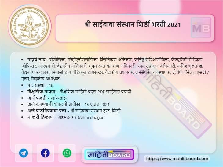 Shree Saibaba Sansthan Recruitment 2021