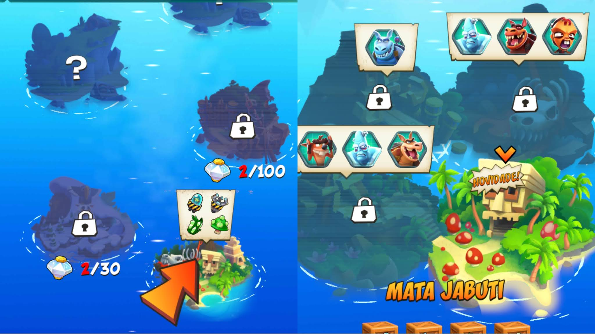 Mapas desbloqueados Crash Bandicoot on the run