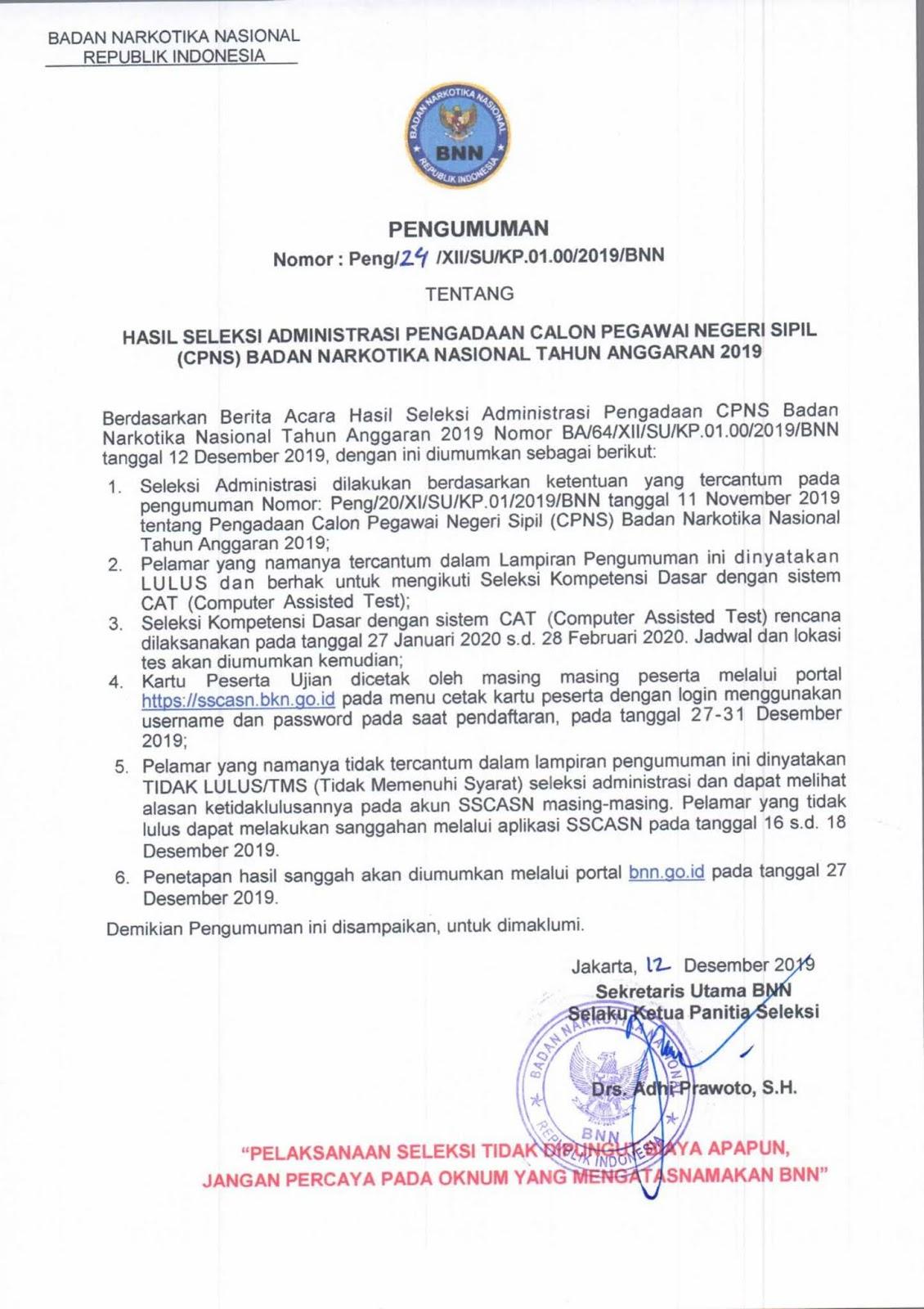 Hasil Seleksi Administrasi CPNS Badan Narkotika Nasional Tahun Anggaran 2019