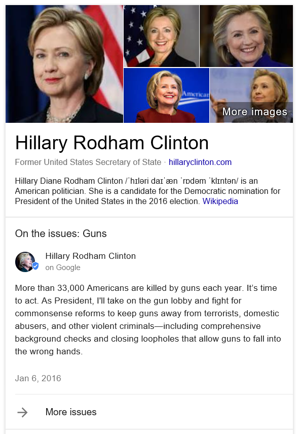 Google Posts for Hilary Clinton