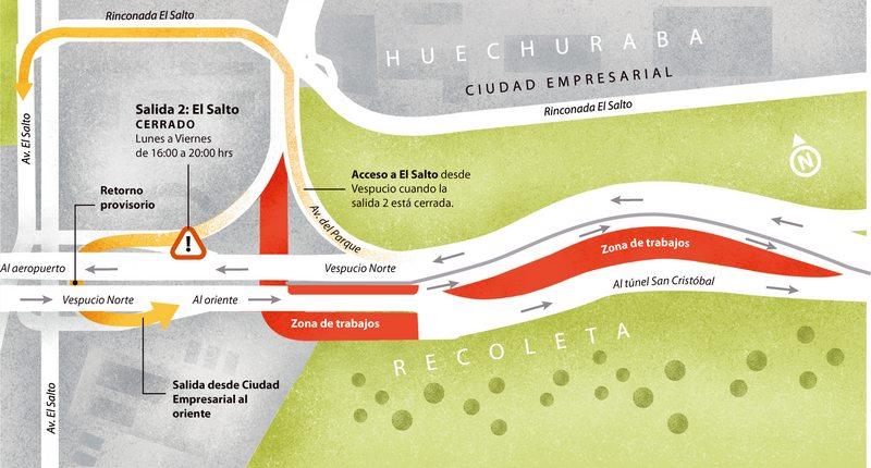 Hasta el 29 de febrero habrá desvíos en Ciudad Empresarial por nuevas obras de Vespucio Oriente