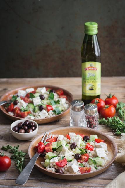 Salade de couscous israélien, huile d'olive extra vierge bio Tramier