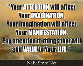 """ Your ATTENTION will affect Your IMAGINATION, Your Imagination will affect Your MANIFESTATION. Pay attention to things that will add VALUE to Your LIFE. "" - Quotes"