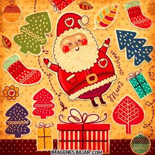 Dibujo del Viejo Pascuero saltando. Ilustración de Papá Noel. Santa Claus gordo Merry Christmas