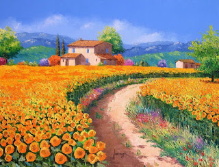 paisajes rurales con espatula pinturas al oleo