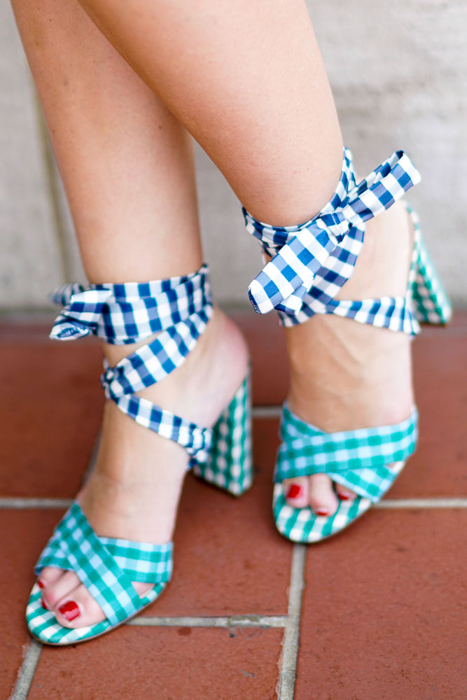 Covering the bases blog, J. Crew Mixed Gingham Sandals, Gingham, Spring shoes, Must have summer items, Patterned Heels