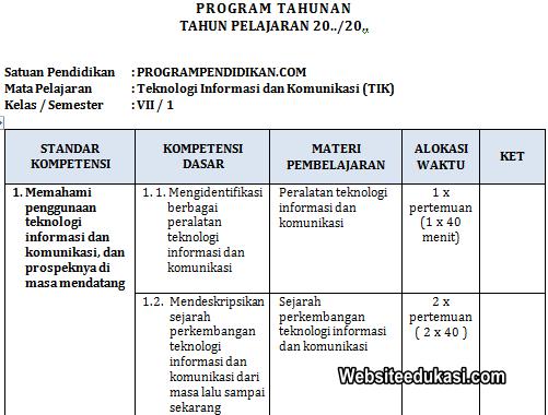 Prota Tik Kelas 7 Smp Mts Tahun 2019 2020 Websiteedukasi Com