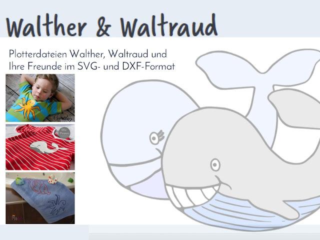 Plotterdateien: Die Wale Walther&Waltraud, Krake Kurt und Fisch Florian